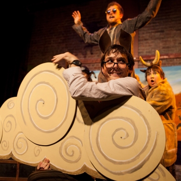 """Samuel Peaches )Casey Robbins) as the Djinn, Sam Bertken as the Horse, and Sabrina Wenske as the Ox in """"How the Camel Got Her Hump"""" -- one of the """"Just So Stories"""" told in O Best Beloved"""