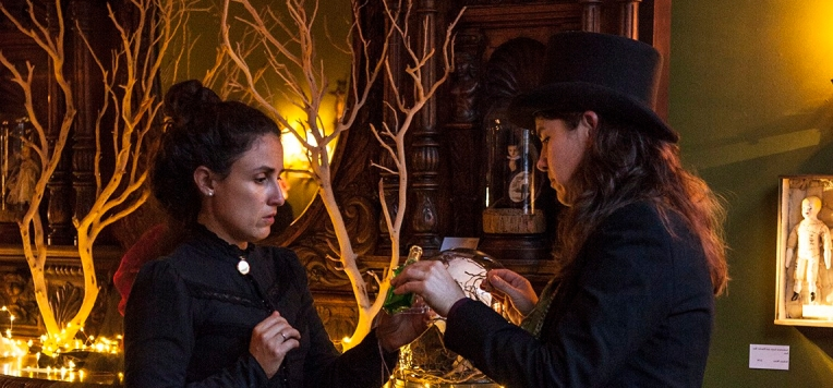 Against a backdrop of an ornately carved wooden bar decorated with barren branches, Josephine, dressed in dark lace with a locket at her neck, receives a drop of mysterious liquid from Doctor Vitae, who wears a top hat and gently holds a vial.