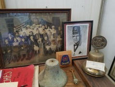 Mementos and ephemera from fraternal orders, such as the Druids, on display at the Crockett Historical Museum.