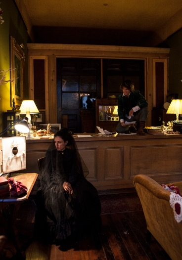 Hobble (r, Joan Howard) watches over Josephine (Maria A. Leigh) in a scene from ELIXIR OF LIFE