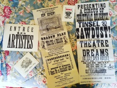 A sampling of posters and cards created by Wendy Addison for her Theatre of Dreams.