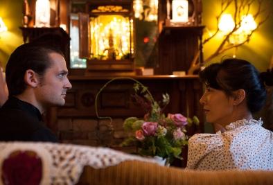 Brother Calvin (Sam Bertken) and Anita (Kristen Matia) in a scene from ELIXIR OF LIFE.