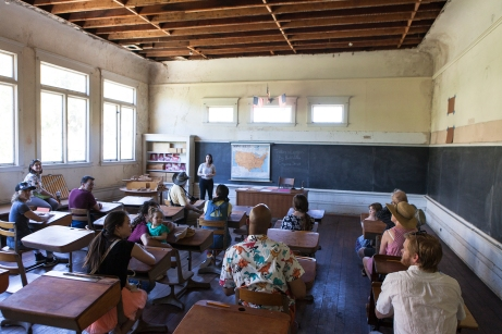 Marlene Yarosh as Ms. Eleanor teaching a class in PORT STORIES. Photo by Serena Morelli, at the Port Costa School..