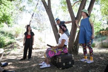 Solimar (Linda Maria Giron), Cass (Leigh Rondon-Davis), Charlotte (Joan Howard), and Isla (Julie Douglas) in PORT STORIES. Photo by Serena Morelli.